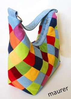 Rainbow colorful jeans bag Patchwork shoulder ladies bag Bright pouch for girl Red Green Blue Yellow bag Birthday gift for a lady Unique Quilted Handbags, Quilted Bag, Tote Bags Handmade, Patchwork Bags, Fabric Bags, Cotton Bag, Colored Jeans, Purses And Bags, Pouch