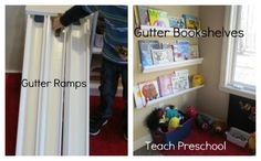Gutter ramps and shelves from Teach Preschool - two great uses for simple (& cheap) gutters.  My boys would love the ramps!
