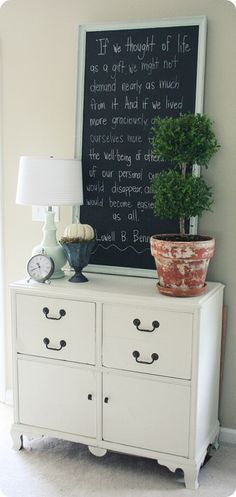 chalkboard quote area in our home.... love this.