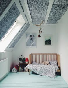 painted floors in a kids attic room