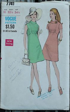 Vogue 7741 1970s 70s Mod Mini Dress Vintage by EleanorMeriwether
