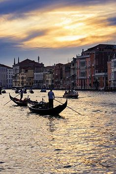 Grand Canal At Sunset; Venice, Italy Poster Print x Sunrise Photography, Grand Canal, Travel Themes, Travel Memories, Best Cities, Capital City, Venice Italy, Sicily, Places To Visit