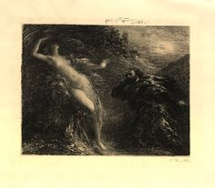 Manfred et Astarté; scene from Schumann's 'Manfred'; signed proof. 1892 Lithograph, on chine collé made by: Henri Fantin-Latour biography  The British Museum