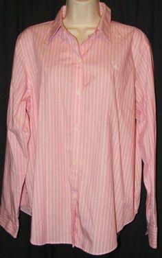 "$22.99   Ralph Lauren Non Iron Pink White Stripe Button Front Career Shirt Top XL 46"" Bus"