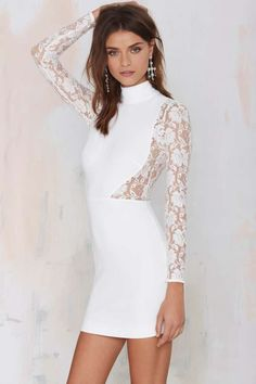 Nasty Gal Danica Lace Dress - Ivory - Going Out | Body-Con | Dresses | Dresses | Clothes | All | Lace Dresses | LWD | All | Clothes | Dresses