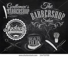 Set Barbershop, scissors, shaving brush, razor, cylinder, in a retro style and stylized for the drawing with chalk on the blackboard. Vector...