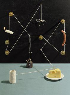 Kalle dos Santos for tableau Sweden studio Rube Goldberg machines Still Life Photography, Creative Photography, Product Photography, Design Observer, Rube Goldberg Machine, Colossal Art, Swedish Design, Graphic Design Studios, Food Art
