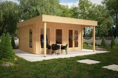 Großes Gartenhaus mit Vordach Ian E 18m² / 50mm / 4x5