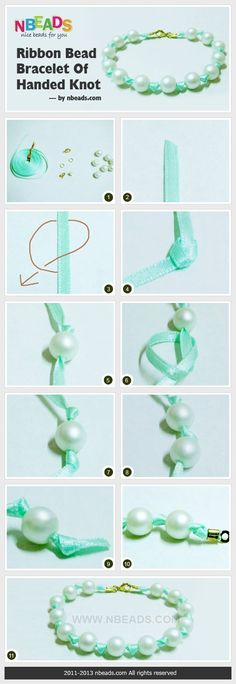 making ribbon and pearl bracelet: - DIY Schmuck Ribbon Bracelets, Beaded Bracelets, Silver Bracelets, Pearl Necklaces, Ankle Bracelets, Pearl Rings, Knotted Bracelet, Diy Bracelet, Bead Crafts