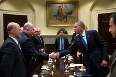 President Barack Obama greets Speaker Osama al-Nujaifi, Iraqi Council of Representatives, after he drops by Vice President Joe Biden's meeting with the Speaker in the Roosevelt Room of the White House, Jan. 22, 2014.