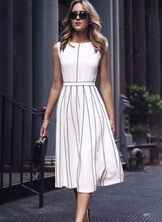 30 Trendy Ways To Wear Dresses For Work - White Dresses - Ideas of White Dresses - amazing outfit idea / white midi dress bag heels Casual Work Outfits, Casual Dresses, Dresses For Work, Summer Dresses, Summer Outfits, Bride Dresses, Fall Dresses, Ladies Dresses, Evening Dresses