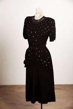Vintage 1940s Cocktail Dress Rayon Crepe Sequins Bombshell Little Black Dress WWII