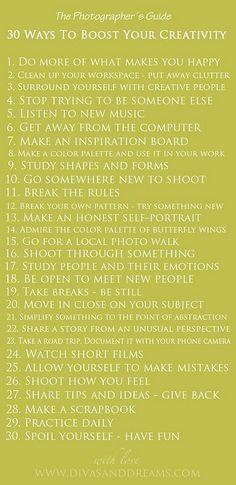 30 ways to boost your creativity   Please join our new community viva la vida on: www.facebook.com/vivalavidalifestyle  Inspiration, life, wisdom, quotes, words, beautiful stories, moving photos, motivational videos