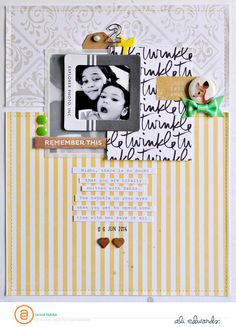 Twinkle by Sasha Farina for Ali Edwards Scrapbook Sketches, Scrapbook Page Layouts, Scrapbooking Ideas, Photo Layouts, Baby Scrapbook, Scrapbook Cards, Washi, Layout Inspiration, Creative Inspiration