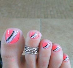 Toe Designs with Nail Polish Unique 27 Gorgeous toe Nail Art Designs that You Should Got to Have Simple Toe Nails, Cute Toe Nails, Summer Toe Nails, Toe Nail Art, Diy Nails, Manicure, Toenail Art Designs, Pedicure Designs, Toe Nail Designs