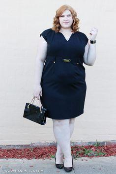 Aussie Curves Danimezza Plus Size Fashion Blogger Outfit Challenge Calvin Klein Black LBD Dress WORK