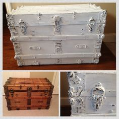 Antique trunk hand painted and distressed using Annie Sloan Old White Chalk Paint. Like Wilshire Collections on fb for more chalk painting inspiration! www.facebook.com/wilshirecollections