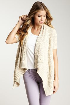Short Sleeve Draped Cable Knit Cardigan
