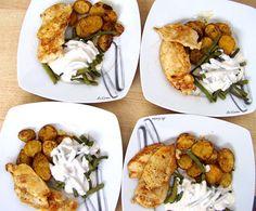 Gebackene Harissa-Zimt-Kartoffeln mit grünen Bohnen, Zimt-Joghurt und Harissa-Hühnchen
