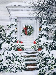 Christmas Front Porch Decorating Ideas to Make your home look like Christma. - Christmas Front Porch Decorating Ideas to Make your home look like Christmas Movies – Ethinify - Noel Christmas, Merry Little Christmas, Vintage Christmas Cards, Country Christmas, Christmas Pictures, All Things Christmas, Xmas, Outdoor Christmas, Christmas Meals