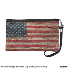 Wooden Vintage American Flag Wristlets
