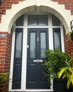 Take a look at the jobs completed by The Window Company including Conservatories, Doors, Sash Windows, and Windows in our Installations Gallery, 1930s House Exterior Uk, Modern Exterior Doors, Double Doors Interior, Exterior Front Doors, House Paint Exterior, Entrance Doors, Black Composite Front Door, Black Front Doors, Modern Front Door