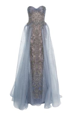 This **Marchesa** gown features a strapless sweetheart neckline, beaded tulle column gown with metallic silver outlined threadwork, and tulle overskirt. Evening Dresses, Prom Dresses, Formal Dresses, Marchesa Gowns, Strapless Sweetheart Neckline, Beautiful Gowns, Couture Fashion, Dress To Impress, Designer Dresses