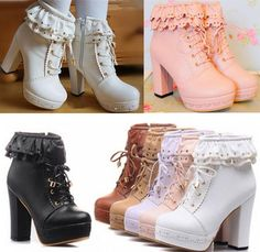 Cute japanese sweet lolita short boots                                                                                                                                                     More