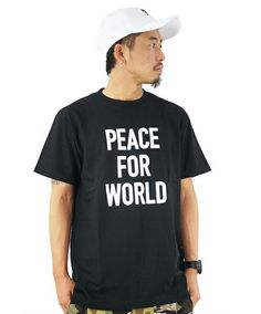 DOUBLE STEAL(ダブルスティール)のPEACE FOR WORLD Tシャツ(Tシャツ/カットソー)|ブラック
