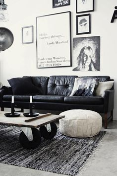 Like the simplicity of the black & white, and how the artwork is hung above the sofa. // NOIR ET BLANC | Domaine Home
