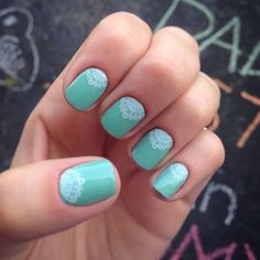 Hint of Mint lacquer w/Touch of Lace Pretty nails you can order here: http://pattycobbbaker.jamberrynails.net/shop