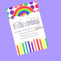 Set of 40 Rainbow Party Invitations with expedited shipping for deniserozanne. $40.00, via Etsy.
