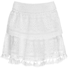 LACE SKIRT (1.335 DKK) ❤ liked on Polyvore featuring skirts, white lace skirt, white skirt, lace skirt, lacy skirt and white knee length skirt