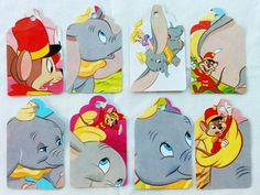 Cool party idea...cut the gift tags out of old books you don't use!  This one is Dumbo, but you could do anything!