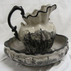 Porcelain bowl and pitcher.