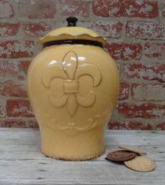 Tuscany Hand Painted Fleur De Lis Yellow Cookie Jar, 82024 by ACK ACK http://www.amazon.com/dp/B00FFL74E4/ref=cm_sw_r_pi_dp_3-prub07P1H58