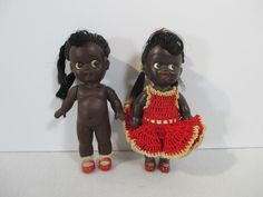 Black Americana Girl Dolls Plastic Red Dress Movable Head Legs Japan Set of 2