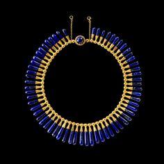 Egyptian style necklace and earrings: lapis lazuli, gold Luigi Freschi, Rome, Italy, about 1860.