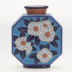 Longwy Primavera octagonal pottery vase