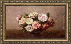 Henri Fantin-Latour Bowl of Roses Framed Painting
