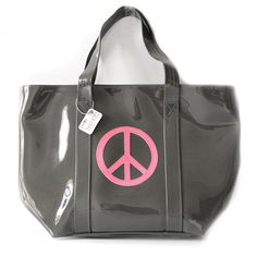 Cabas City peace and love gris anthracite et rose fluo