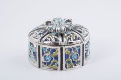 Silver with Blue Flowers Faberge Style Trinket Box by KerenKopal