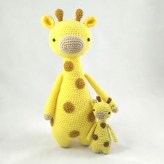 Meet tall giraffe's tiny baby brother!  Mini giraffe by Little Bear Crochet: http://www.amigurumipatterns.net/shop/Little-Bear-Crochet/Mini-Giraffe/