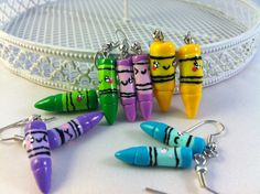 Back to School: Homemade Polymer Clay Crayons earrings