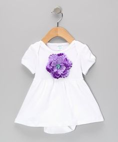 Love this tiny bundles White & Purple Flower Skirted Bodysuit - Infant by tiny bundles on #zulily! #zulilyfinds