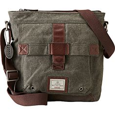 Fossil Trail Canvas N/s City Bag Olive - Fossil Men's Bags