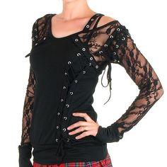 Camiseta Gótica Con Encaje