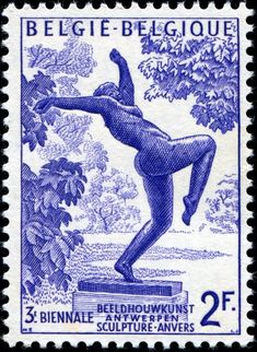 """""""The Foolish [or """"Mad""""] Virgin,"""" one of a two-stamp set designed by Belgian-born artist and graphic designer Marc Fernand Severin (1906-1987) after a statue by Belgian sculptor and painter Rik Wouters (1882-1916), and issued on June 10, 1955 to publicize the 3rd biennial exhibition of sculpture in Antwerp, held June 11 - September 10, Scott No. 491, SG No. 601."""