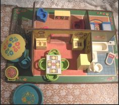Vintage 70's Fisher Price Little People Play Family #909 Rooms LOADED w/furnish #FisherPrice