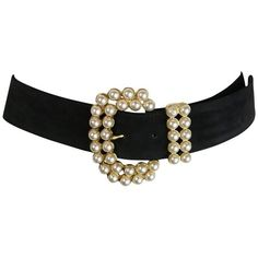 Preowned Vintage 80s Faux Pearl Gold Toned Black Suede Belt (1.490 BRL) ❤ liked on Polyvore featuring accessories, belts, black and vintage belt
